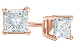 0.75 Ct Princess Cut White Diamond Solitaire Stud Earrings In 14k Rose Gold
