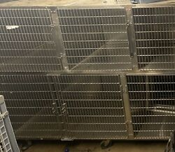 Animal Cages-groomers, Vets, Shelters, Used, Stainless Steel Multiple Cage Bank