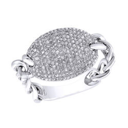 3/5 Ct Round Cut Simulated Solid 14k White Gold Cluster Chain Design Ring