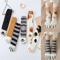 Cute Women Girls Cat Claws Plush Fuzzy Fleece Soft Floor Sleep Indoor Socks US