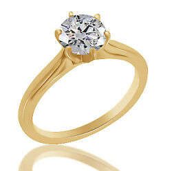 0.69 Ct Simulated Ideal Round Cathedral Engagement Ring 18k Yellow Gold