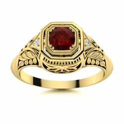 Antique Vintage 0.42 Carat Natural Garnet And Si Diamond Ring In 14k Yellow Gold