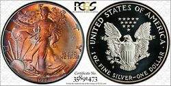 Toned 1987-s Ase American Silver Eagle Proof Dollar - Pcgs Pr69dcam
