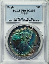 Toned 1986-s Ase American Silver Eagle Proof Dollar - Pcgs Pr66cam