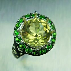4.1ct Natural Heliodor Beryl 925 Silver 9ct 14k 18k Gold Platinum Ring