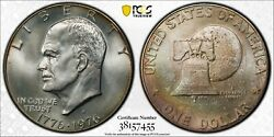 1976-s Silver Eisenhower Ike Dollar Pcgs Ms65 Rainbow Toned Deep Color Dr