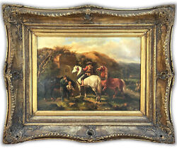 19th European Oil On Board Andldquochanging The Plow Horseandrdquo Genre Painting Daily Work