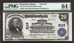 20 1902 Pb First National Bank Of Marshall County Plymouth, Indiana Pmg 64 Epq