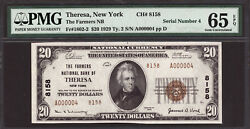 20 1929 T2 The Farmers National Bank Of Theresa, New York Ch 8158 Pmg 65 Epq