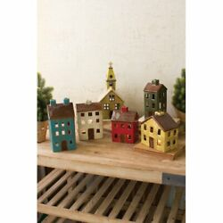 6 Piece Ceramic Village Set Christmas Holiday Add Tea Lights Decoration