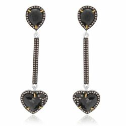 9.65 Ct Black Rough And Brown Diamond 18k Gold And Sterling Heart Drop Earrings