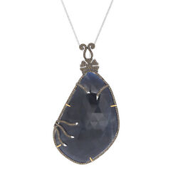 128.37 Ct Blue Slice Sapphire And Diamond 18k Gold And Sterling Pendant 18 Chain