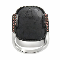 Heavy 29.50 Ct Black Rough And Brown Diamond Engagement Ring Sterling Silver