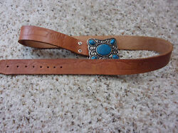 Homemade Hand Carved Leather Belt~Bear Squirrel Deer Trees~Turquoise Buckle~38