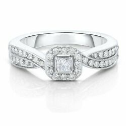 1/2 Ct Natural Diamond Engagement Ring In 10k White Gold