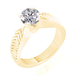 2.60ct Ideal Round Simulated Diamond In 18k Yellow Gold Vintage Engagement Ring