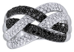 1 Ct Round Cut White And Black Natural Diamond Loose Braid Ring In 10k White Gold