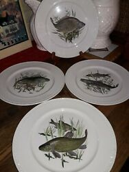 Lot Set 4 Villeroy Boch Fish Dinner Plates Trout Luxembourg 9.5
