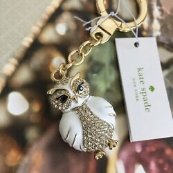 Kate Spade New York Crystal Owl Bag Charm Key FOB Ring Chain W Gift Pouch