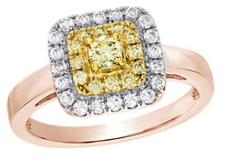 0.5 Ct Round Cut Yellow And White Diamond Frame Engagement Ring In 14k Rose Gold