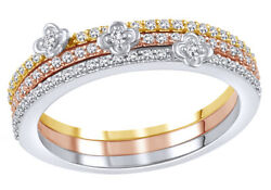 0.33 Ct Round Diamond Three Ring Set Stackable Tri Tone Ring In 10k White Gold