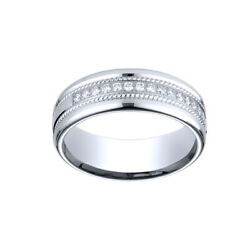 1/3 Ct 7.5mm Comfort-fit Pave Set 16-stone Diamond Ring Sz-10 In 18k White Gold