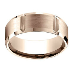 14k Rose Gold 8.00 Mm Comfort-fit Men's Anniversary And Engagement Band Ring Sz-12