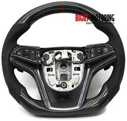 Fits 14 15 Chevy Camaro Custom Carbon Fiber And Leather Flat Bottom Steering Wheel