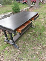 Large Antique French Victorian Carved Rosettes Library Table Desk Renaissance