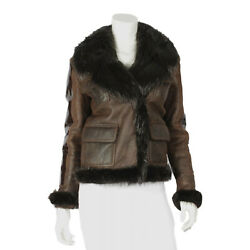 Tom Ford Chocolate Moto Beaver Fur, Leather, And Calf Leather Jacket