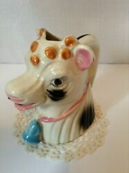Vintage Mid Century White Cow Creamer Head With Pink Collar And Blue Bell