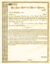 Real Estate Bank Of The State Of Arkansas - Stock Certificate