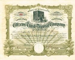 Citizens Trust And Deposit Company Of Baltimore, Maryland - Stock Certificate