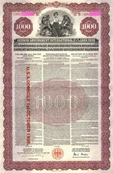 German Young Gold Loan Uncancelled 1,000 Denominated Bond Of 1930 With Pass-co