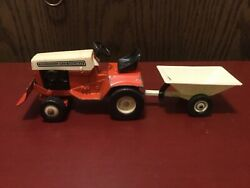 Vintage Ertl Allis Chalmers Lawn And Garden Tractor Riding Mower W Blade And Cart.