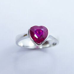 1.7cts Natural Ruby Red Heart 925 Silver / 9ct14k 18k Gold/ Platinum Ring