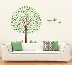 Happy Tree Wall Stickers Removable Tree Decals Stickers 50x70cm Home Decoration