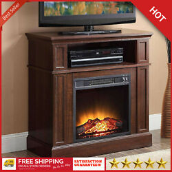 48 Inch Electric Fireplace 5-Level Flame Adjustable Temperature Push-Button LED