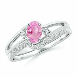 0.68cttw Oval Pink Sapphire And Diamond Wedding Band Ring Set In 14k Gold/platinum