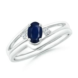 Split Shank Sapphire Engagement Ring With Wedding Band In Silver/gold/platinum
