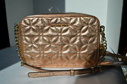 NWT $198 Michael Kors Quilted Floral Light Rose Leather Camera Md Crossbody Gold $69.00