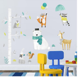 Animal Wall Sticker Forest Tree Decals Removable Deer Rabbit Stickers For Kids