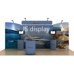20ft Portable Fabric Trade Show Display Booth Exhibition With Tv Bracket Counter
