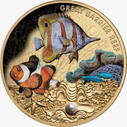 Niue 2020 Great Barrier Reef 100 1 Oz Gold Proof W/ Saltwater Pearl Mintage 150