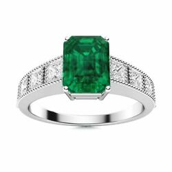 Emerald Cut Natural Green Emerald And Vs Diamond Engagement Ring In 14k White Gold