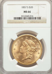 1857-S $20 Gold Liberty Double Eagle NGC MS66 Beautiful High Quality GEM!!!