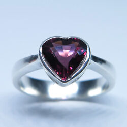 1.2ct Natural Red Tourmaline Rubelite Silver Gold Platinum Ring All Sizes