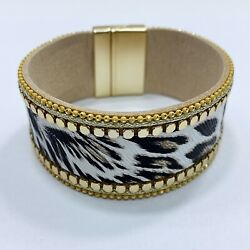 Matte Gold Finished Animal Leopard Print Faux Leather Magnetic Closure Bracelet