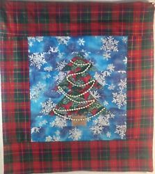 Christmas Tree Wall Hanging Quilt 20quot;H x 19quot;W Red Green amp; Blue