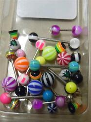 Big Lot Of 20 Pieces Morbid Metals Body Jewelry Striped Colorful Balloon Balls